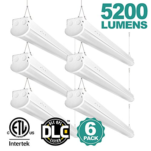 4FT Linear LED Shop Light 40W Super Bright 5200 Lumens 5000K Daylight Linkable Commercial Strip Light Fixture for Garage Laundry Basement Balcony Office Hospital Workbench Market Pack of 6 Commercial Strip Light