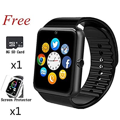 Smart Watch,Bluetooth Touch Screen Wrist Watch Phone Fitness Tracker SIM Card Slot Camera,Smartwatch with Pedometer Compatible iPhone Samsung Android iOS LG Phones Men Women Kids