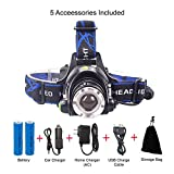 LED Headlamp Flashlight Rechargeable Lithium Batteries–3 Modes Zoomable Super Bright Adjustable Head Strap for Outdoor Camping Fishing Repairing Night Walking-Car Charger, Wall Charger & USB Cable