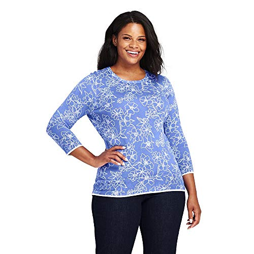 (Lands' End Women's Plus Size Supima 3/4 Sleeve Print Sweater, 1X, French Periwinkle)