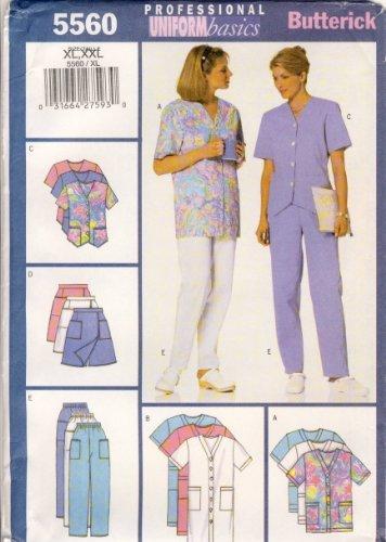 Butterick Sewing Pattern 5560 - Use to Make - Fast & Easy Misses' Uniform Basics - Dress, Top, Skort, Pants - Sizes XL, XXL ()
