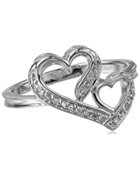 Sterling Silver 0.10 ct. t.w. Double Heart Diamond Ring, Size 8