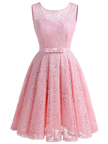 IVNIS Women s Lace Fit and Flare Cocktail Party Dress A-Line Prom Dress  with Belt 342e8d361