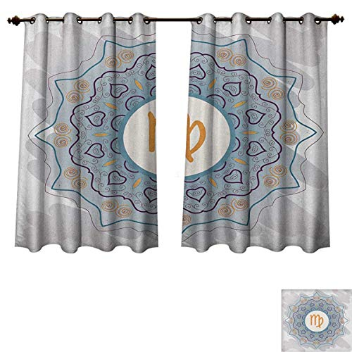 PriceTextile Zodiac Virgo Blackout Thermal Curtain Panel Ornate Oriental Mandala Motif in Doodle Style Karma and Spirituality Themes Patterned Drape for Glass Door Multicolor Size W52 xL63