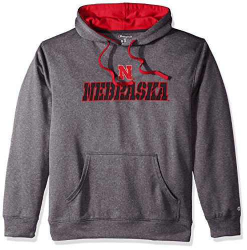- Champion NCAA Nebraska Cornhuskers Adult Men Pullover Hood with Contra, Large, Anthracite
