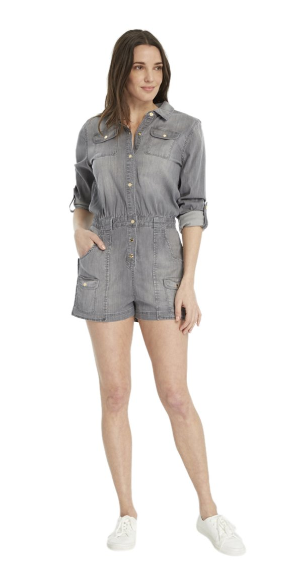 Juicy Couture BLACK LABEL Women's Tencel Denim Romper, Grey, 4 by Juicy Couture