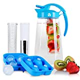 infuser ball for pitcher - Fruit & Tea Infusion Water Pitcher - The PERFECT Gift - Free Ice Ball Maker - Free Infused Water Recipe Booklet - Includes Shatterproof Jug, Fruit Infuser, and Tea Infuser - Great for weight loss