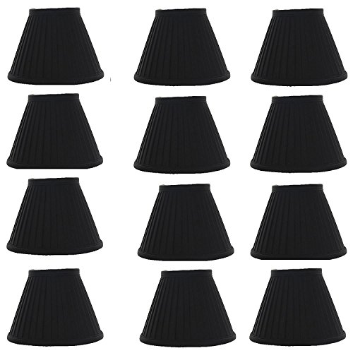- Upgradelights Black Silk Side Pleat with Gold Interior 5 Inch Chandelier Mini Clip on Shade (Set of 12) 3x5x4