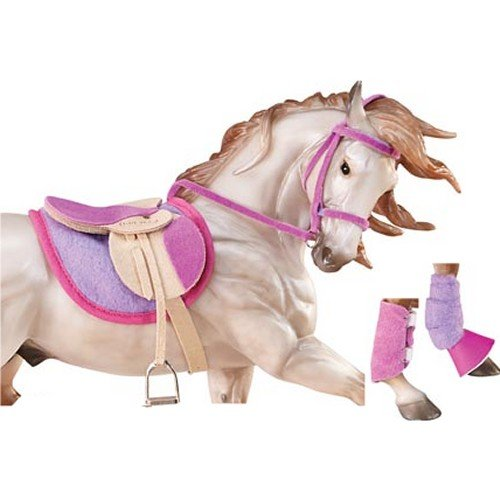Breyer 2050 Traditional English Riding Set - Hot Colors - Horse Toy Accessory, 1:9 Scale, Pink Purple