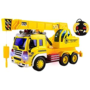 Toy RC Construction Truck w/ Crane Car Remote Control Crane 4CH Vehicle w/ USB charger (Rechargeable Batteries)