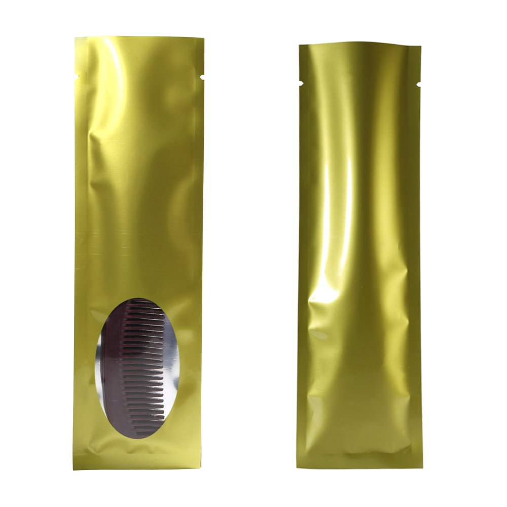 100x Gold/Silver/Gold Long Flat Open Top Bags with Oval Window 6x20cm (2.3x7.8'') by QQ Studio (Image #3)