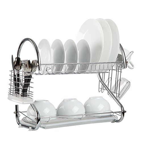 Finnhomy Functional Kitchen 2 Tier Chrome Dish Drying Rack Durable Rust-resistance Dish Drainer with Chopstick Cup Holder and Water Catcher for Drying Dishes Plates Cups Bowls Silverwares 17 Inch