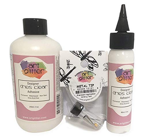 - Art Institute Glitter Designer Dries Clear Adhesive Clear Glue Kit Bundle-3 items 8oz,2oz and Metal Tip