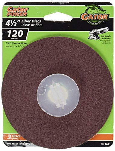 Gator Finishing 3070 120 Grit Aluminum Oxide Fiber Discs (3 pack), 4.5