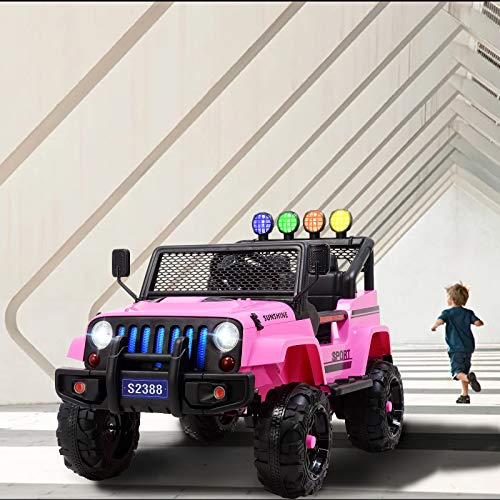 Uenjoy Electric Kids Ride On Cars 12V Battery Motorized Vehicles W/ Wheels Suspension, Remote Control, Music& Story Playing, Colorful Lights, Sunshine Model, Pink by Uenjoy (Image #9)