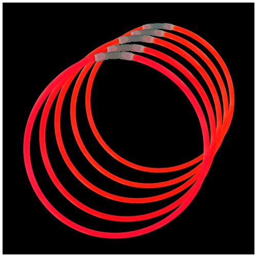 Lumistick Premium 22 Inch Glow Stick Necklaces with Connectors | Kid Safe Non-toxic Glowstick Necklaces Party Pack | Available in Bulk and Color Varieties | Lasts 12 hours (Red, 50)