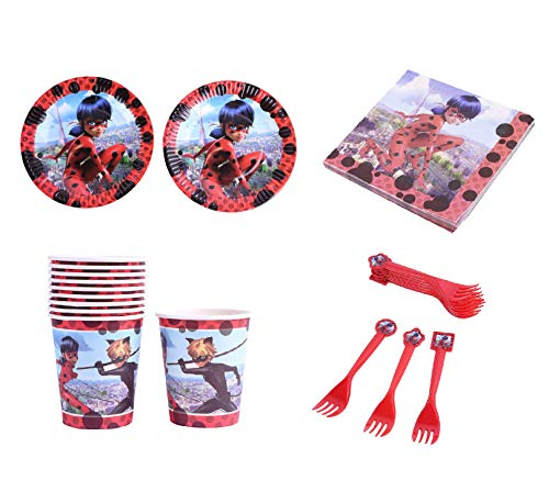 Ladybug Party Supplies (Astra Gourmet Ladybug Theme Tableware Set - Include Dessert Plates, Cups, Napkins and Forks for Ladybug Theme Kids Birthday Party Celebration Party Supplies - Bundle for)