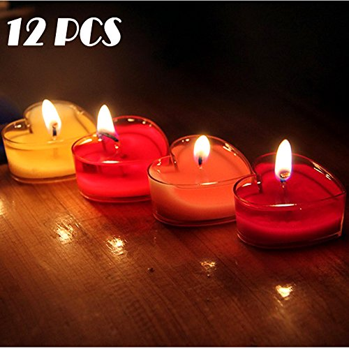 12 Pcs Heart-shaped Scented Candles, STAR-TOP Sweet Romantic Love Heart Shaped Floating Candle for Home Decorations Wedding Birthday Party Celebrations