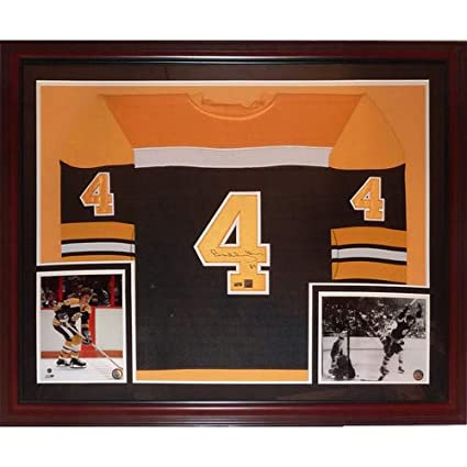 c92701d9f Image Unavailable. Image not available for. Color  Bobby Orr Autographed  Signed Auto Boston Bruins Black  4 Deluxe Framed Jersey ...