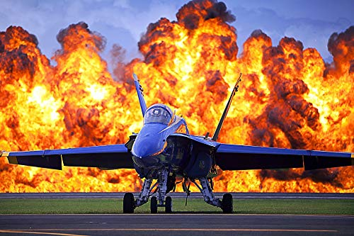 Home Comforts Laminated Poster Wall of Fire Blue Angels Jet Air Show Military Vivid Imagery Poster Print 24 x 36