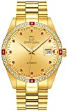 Men's Analog Luminous Calendar Stainless Steel Band Business Automatic Mechanical Watch Gold Color