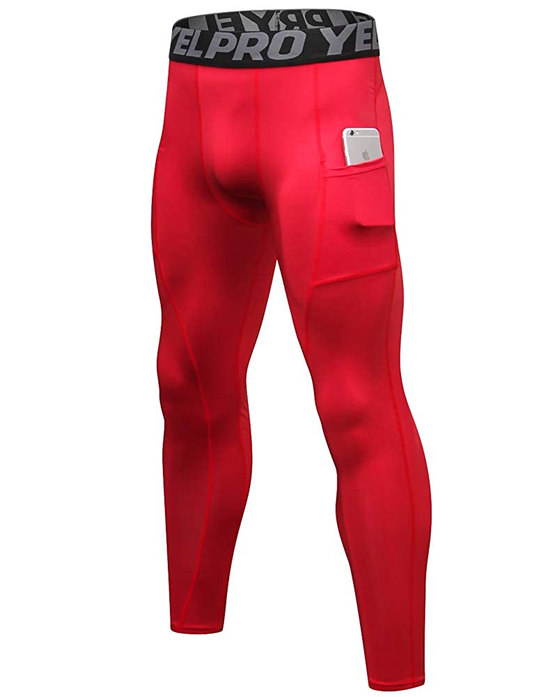 WDREAM Men's Compression Pants Running Sports Tights Leggings with Pocket