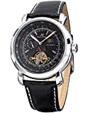 KS Mens Luxury Faux Tourbillion Moon Phase Automatic Mechanical Leather Wrist Watch