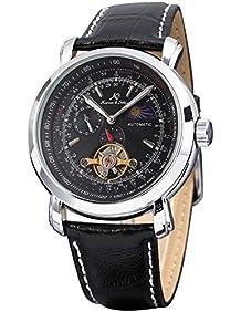 KS KS068 Luxury Faux Tourbillion Moon Phase Automatic Mechanical Mens Leather Wrist Watch