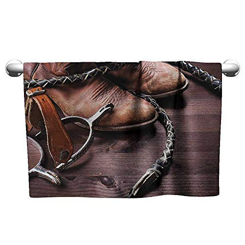 Western Spur Toilet Paper Holder - alisoso Western,Pool Towels Authentic Old Leather Boots and Spurs Rustic Rodeo Equipment USA Style Art Picture Print Quick-Dry Towels Brown W 28