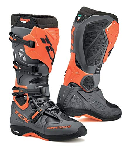 TCX Men's Comp EVO Michelin Off-Road Motorcycle Boots - Dark Grey/Orange Fluo Size - Comp Motorcycle