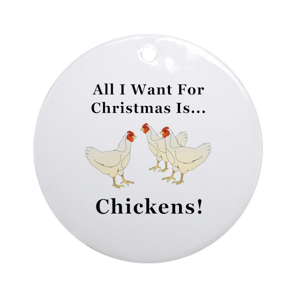 CafePress - Christmas Chickens - Round Holiday Christmas Ornament ...