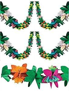 3 Piece Tissue Flower Garlands (Each is 9 feet)