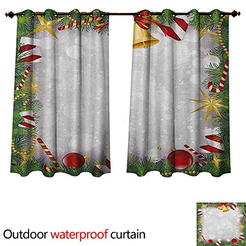 Anshesix Christmas Outdoor Balcony Privacy Curtain Xmas Eve Carol Theme Frame Pine Spikes Candy Jingle Hand Bells and Ribbon Image W55 x L72(140cm x 183cm)