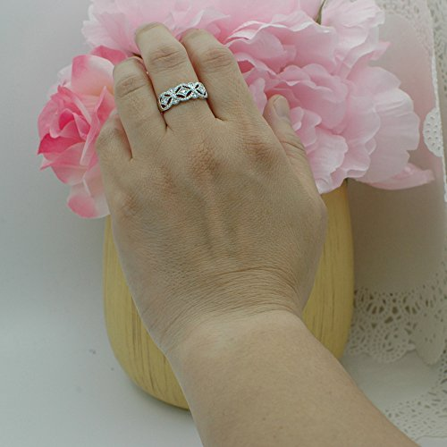 0.33 Carat (ctw) 10K White Gold Round Diamond Ladies Vintage Style Wedding Band 1/3 CT (Size 6.5) by DazzlingRock Collection (Image #5)