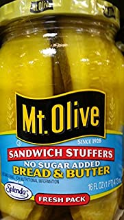 product image for Mt. Olive Sandwich Stuffers Bread & Butter Pickles, No Sugar Added 16 Oz (Pack of 3)