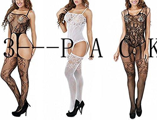 - Women Sexy Mesh Lingerie Fishnet Free Size Crotchless Bodystockings Bodysuit Babydoll