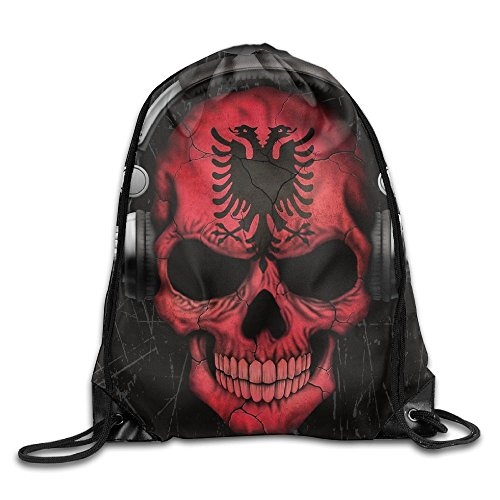 (KuFbi Dj Skull with Albanian Flag Cool Drawstring Travel Sports Backpack Gift)
