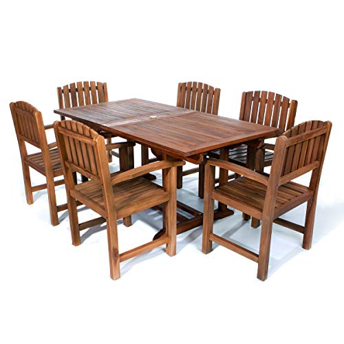 All Things Cedar TE90-20 Teak Rectangular Extension Patio Table with Dining Chairs Set, 7-Piece (Rectangular Teak Extension Table)