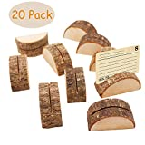 Aimyoo Wooden Card Holders - Rustic Real Wood Table Number Stands Picture Memo Clip Note Photo Clip for Home Party Decoration Wedding Favors (Pack of 20)