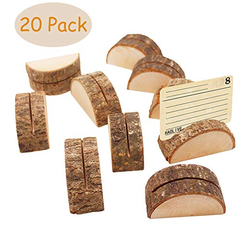 (Aimyoo Wooden Card Holders - Rustic Real Wood Table Number Stands Picture Memo Clip Note Photo Clip for Home Party Decoration Wedding Favors (Pack of 20))