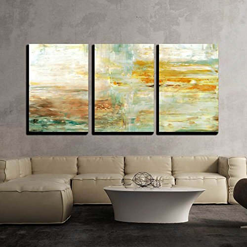 wall26 - 3 Piece Canvas Wall Art - Brown and Green Abstract Art Painting - Modern Home Decor Stretched and Framed Ready to Hang - 16