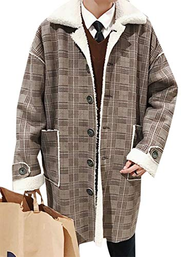 XQS Men's Vintage Check Print Sherpa Lined Shearling Thicken Trucker Jacket Coffee XL