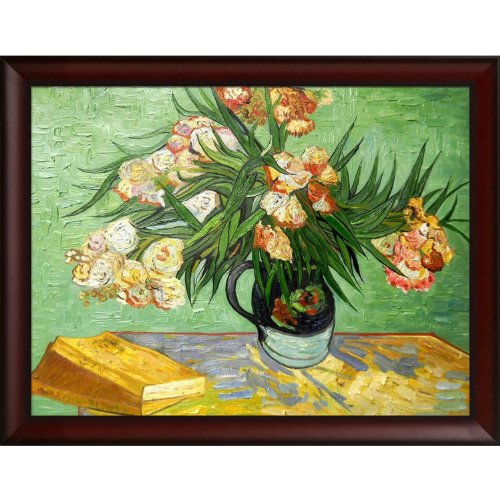 overstockArt Majolica Jar with Branches of Oleander-1888 Oil Painting Oil Painting by Vincent Van Gogh