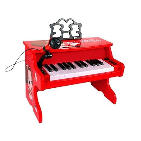 LIUFS-El teclado Piano Juguete Niños Principiante Teclado multifunción Hogar Chica Rojo Dibujos animados (