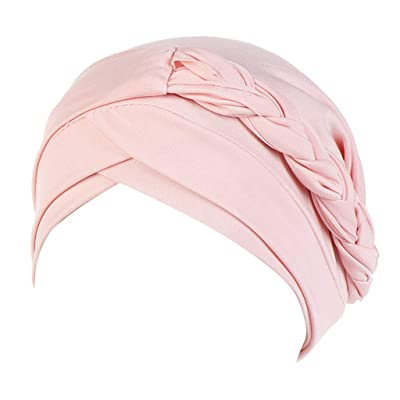 CCOOfhhc India Muslim Hat Women Braided Ruffle Cancer Plain Chemo Beanie Turban Wrap Caps Headwear Headreap Pink: Clothing