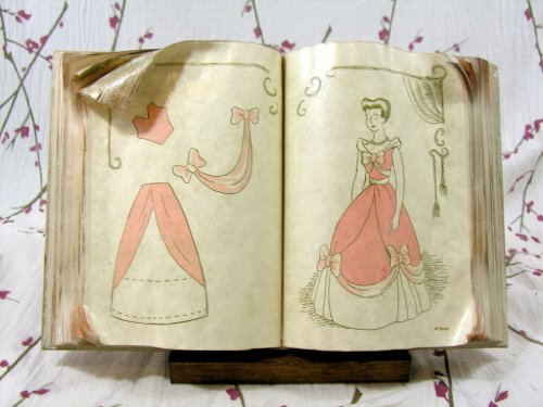 Disney Wdcc Cinderella's Sewing Book with Wooden Stand Retired Rare