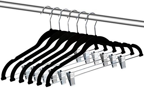 Zoyer Velvet Clothes Hangers With Clips - 12 Pack - Velvet Skirt Hangers - Non-Slip Pant Hangers (Black)