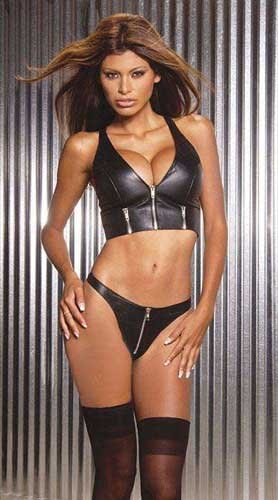 Leather zip front Halter Top with Zipper detail, shown with item EML9203 in Medium