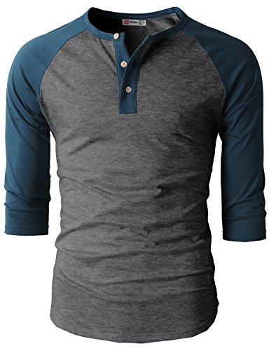 (H2H Mens Casual Slim Fit Raglan 3/4 Sleeve Henley T-Shirts CHARCOALBLUE US L/Asia XL (CMTTS0174))