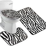 Tinksky Flannel Lid Toilet Cover Pedestal Rug Bathroom Mat Set,Pack of 3 (Zebra-stripe)